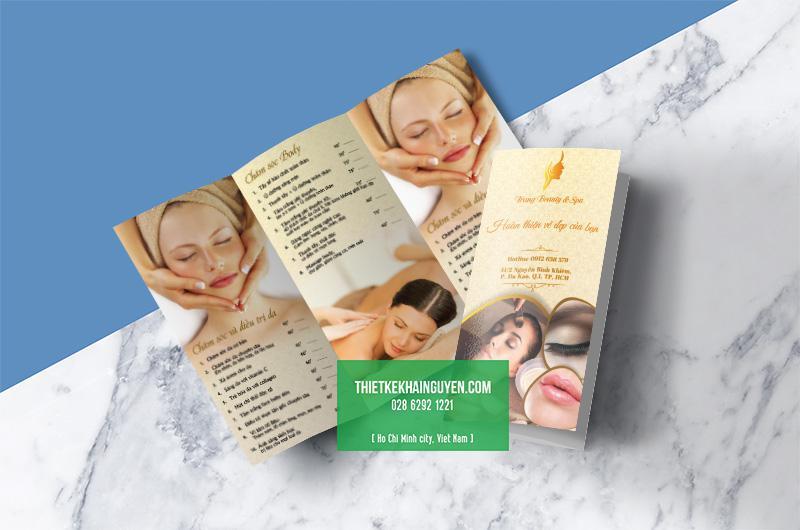 Mẫu menu togo Spa - Trang Beauty Spa