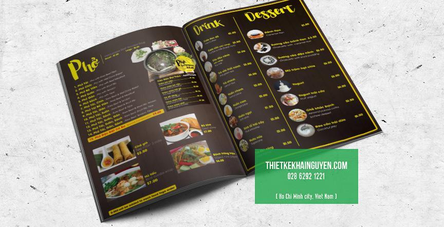 Thiết kế in ấn cho nhà hàng Phở - thiết kế menu