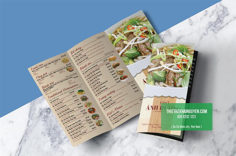 In menu dạng tờ rơi - menu mang về cho quán Phở