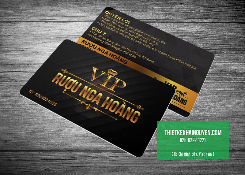 Thẻ VIP RUOU NGA HOANG in bằng thẻ nhựa đục