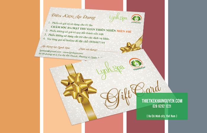 Mẫu thiết kế Gift Card cho Lynk Spa