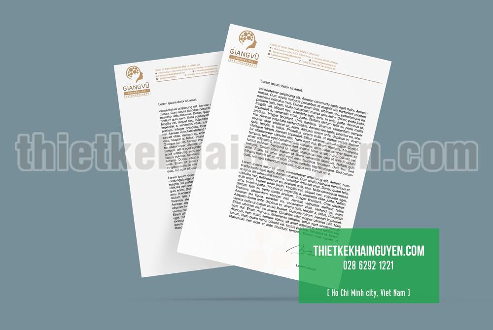 Mẫu giấy tiêu đề của công ty Giang Vũ