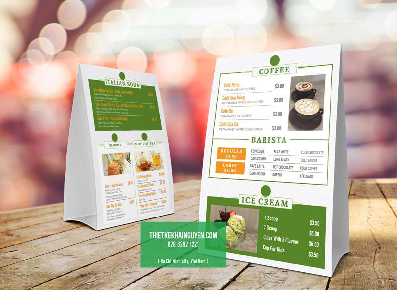 In menu để bàn cho quán cafe