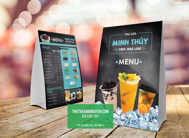 Thiết kế menu standee cho quán trà sữa