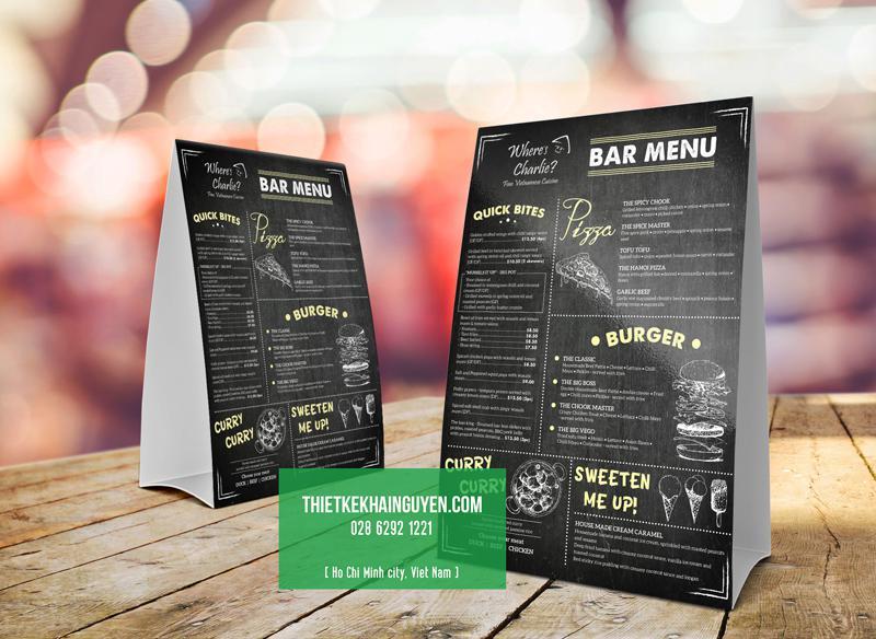 Thiết kế menu để bàn chữ A cho nhà hàng