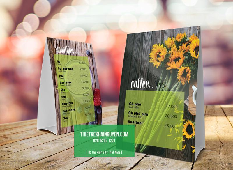 Thiết kế thực đơn để bàn đẹp dành cho cà phê