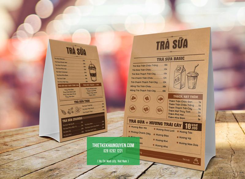 Thiết kế menu vintage cho quán trà sữa