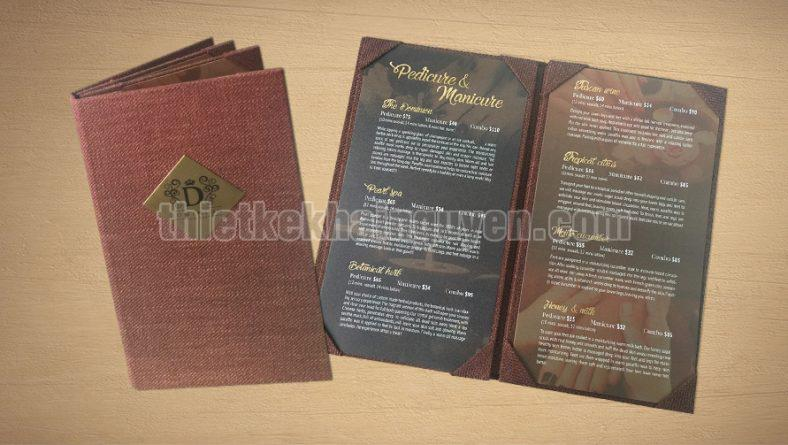 In menu bìa vải - làm bìa menu vải