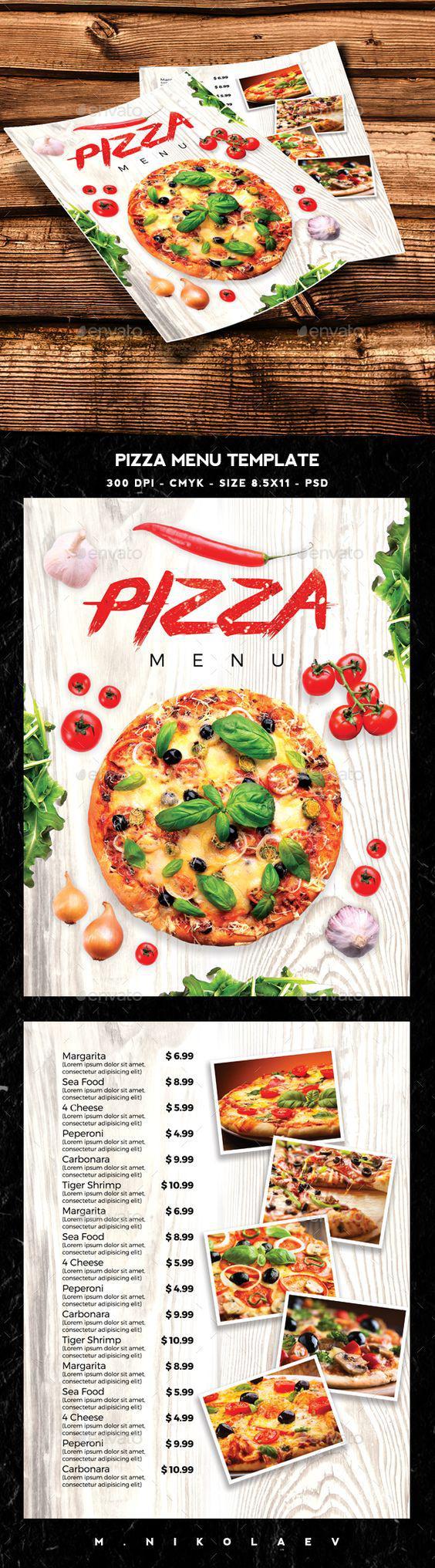 Mẫu in voucher đẹp cho tiệm Pizza màu trắng