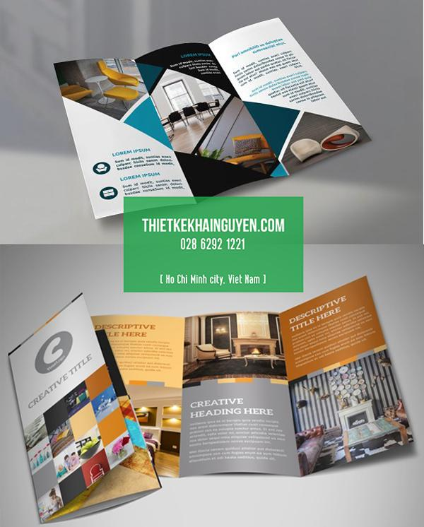 Mẫu brochure nội thất A4 gấp 3