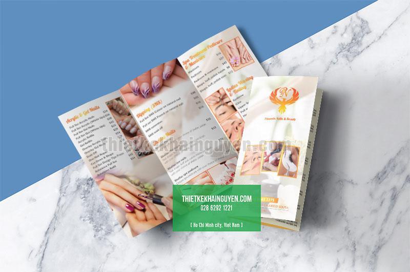 Mẫu thiết kế brochure Phoenix Nails Beauty