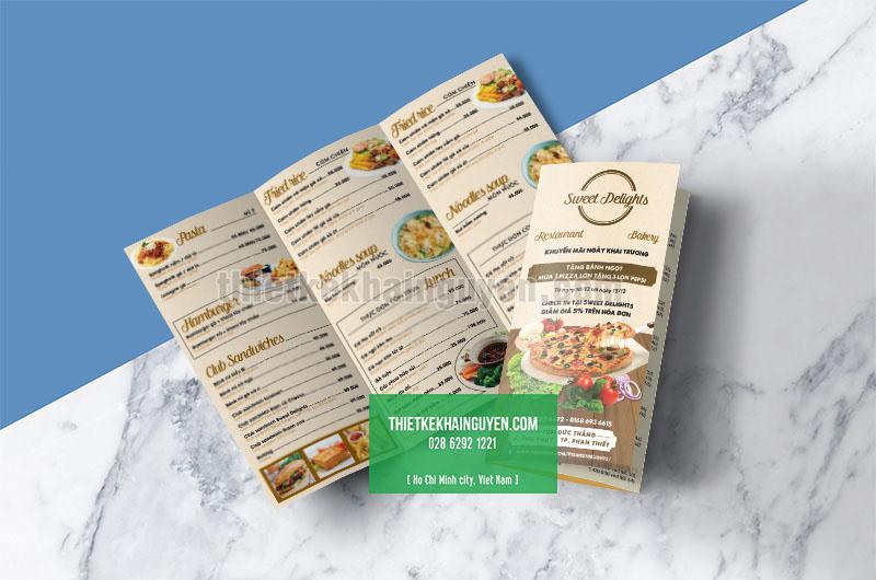 Mẫu menu goto - tờ gấp của nhà hàng Sweet Delight