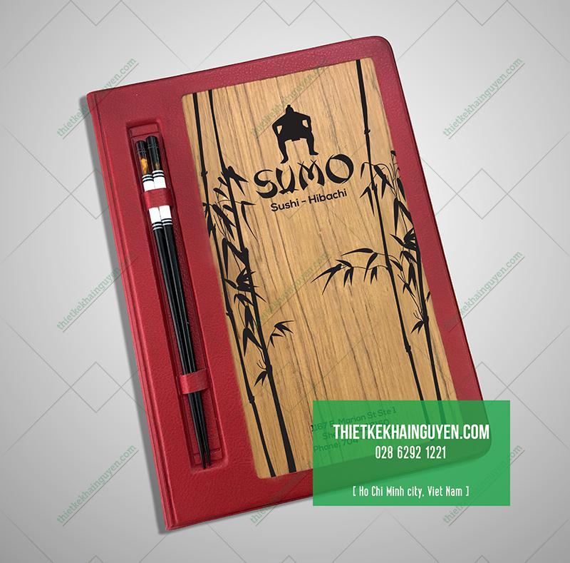 Bìa menu gỗ cho nhà hàng Nhật