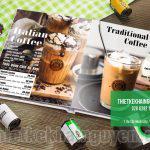 Mẫu thiết kế menu mở phẳng cho quán cafe