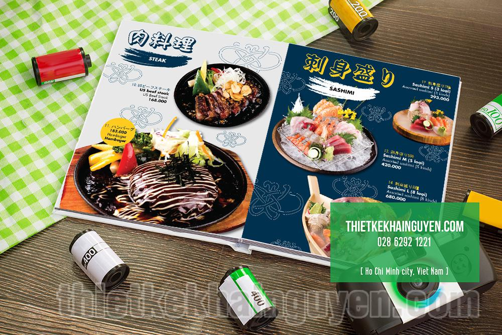Menu mở phẳng cho nhà hàng Nhật