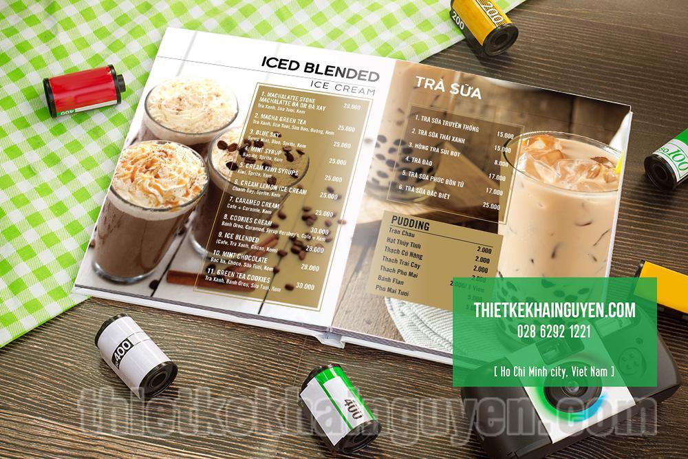 Ấn tượng mới kiểu menu gáy phẳng( mở phẳng) cho quán cafe