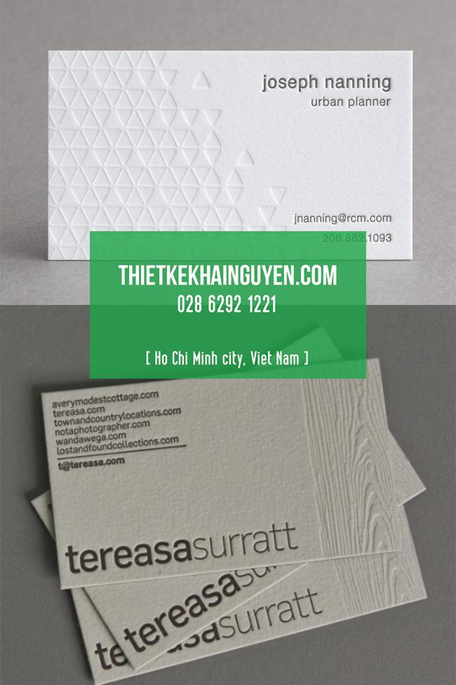 Kiểu làm name card dập chìm bán nền