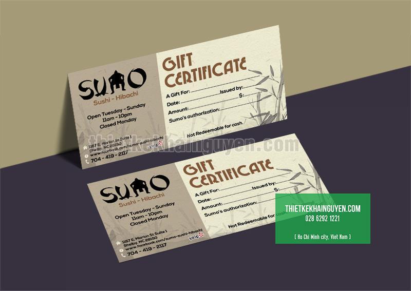 Voucher nhà hàng SUMO - bộ nhận diện thương hiệu nhà hàng Nhật