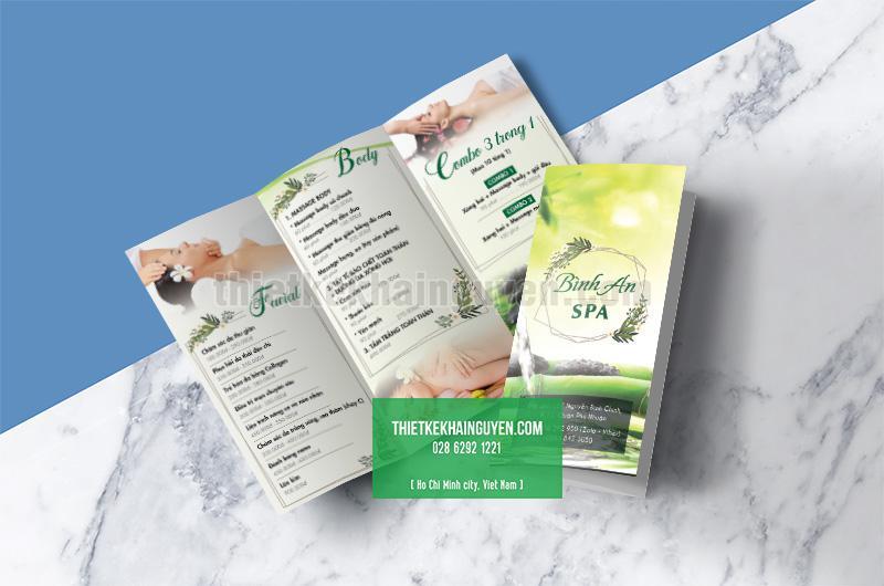 Thiết kế brochure SPA màu xanh
