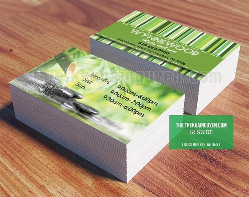 Mẫu card visit trong bộ thiết kế thương hiệu màu xanh cho spa
