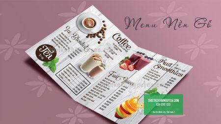 Thiết kế menu nền gỗ đẹp đơn giản – menu giả gỗ ấn tượng