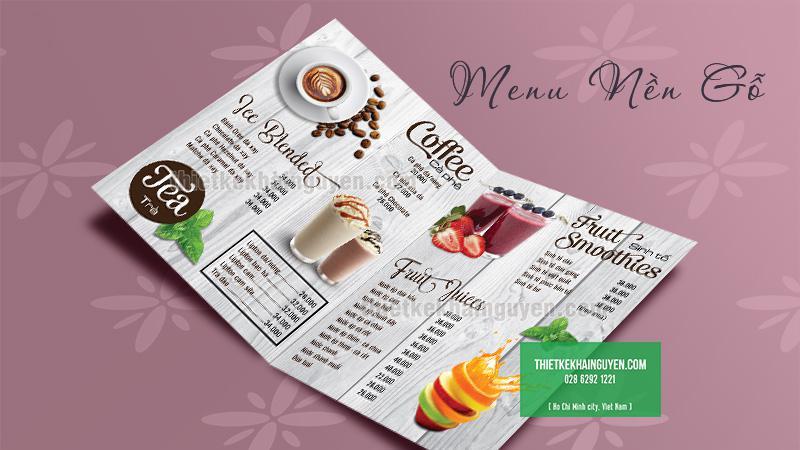 Thiết kế menu nền gỗ đẹp tại tphcm