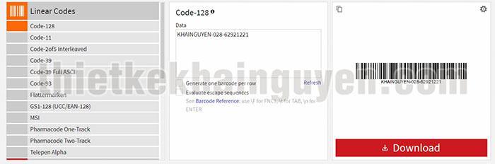 Tạo barcode online cơ bản - barcode.tec-it.com