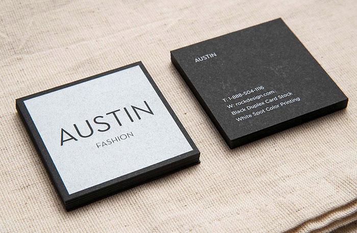 In card visit màu đen kéo nhũ bạc