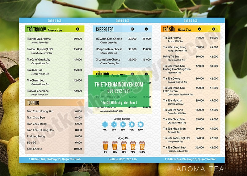 Thiết kế menu trà sữa đầy màu sắc