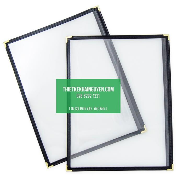 Làm menu bìa kiếng dạng 1 tờ giá rẻ