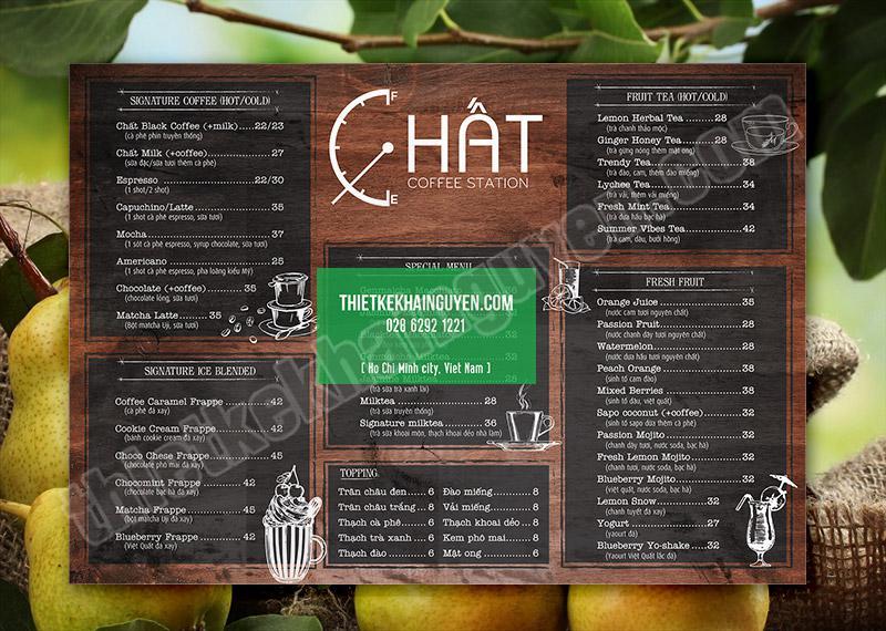 Mẫu thiết kế menu quán cà phê đẹp với hiệu ứng cổ điển