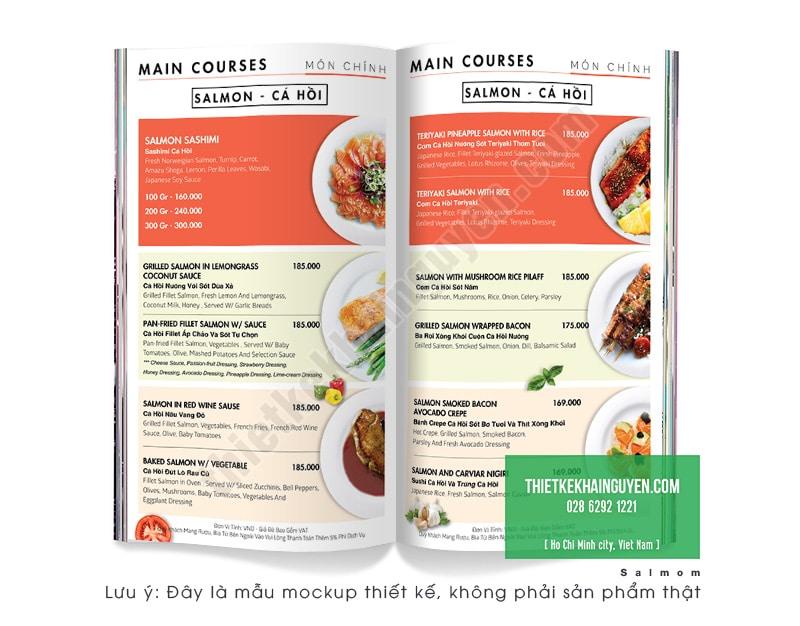 Mẫu thiết kế menu nhà hàng Salmon Đà Nẵng