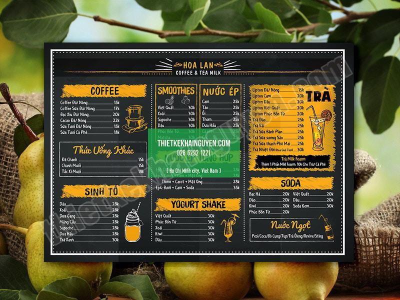 Mẫu menu cà phê HOA LAN ấn tượng