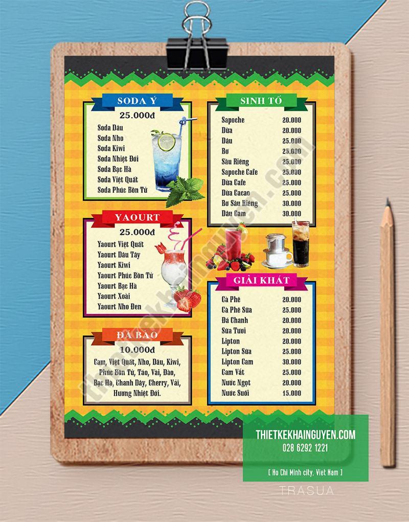Thiết kế menu trà sữa dễ thương nhí nhảnh