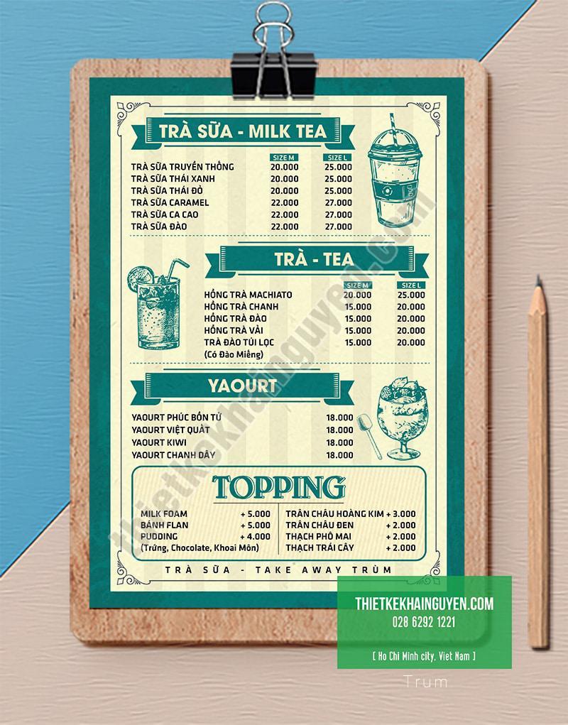 Menu trà TRUM với phong cách đơn giản nhẹ nhàng