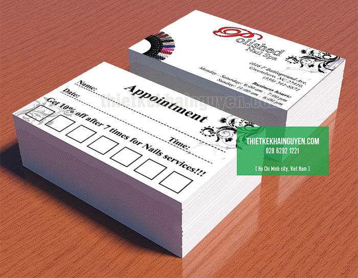 Mẫu phiếu lịch hẹn đơn giản Appointment Card Polished Spa