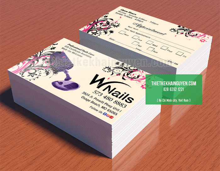 Thiết kế phiếu lịch hẹn cho Spa Wnails