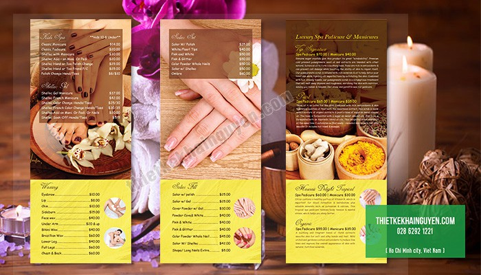 Bảng giá menu Vip Nails Spa