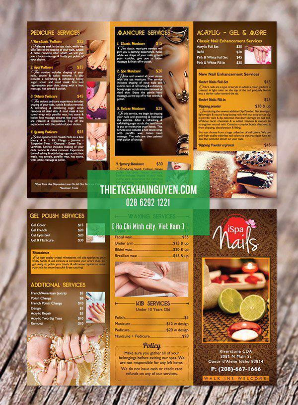 Mẫu thiết kế brochure Ispa Nails tại Mỹ
