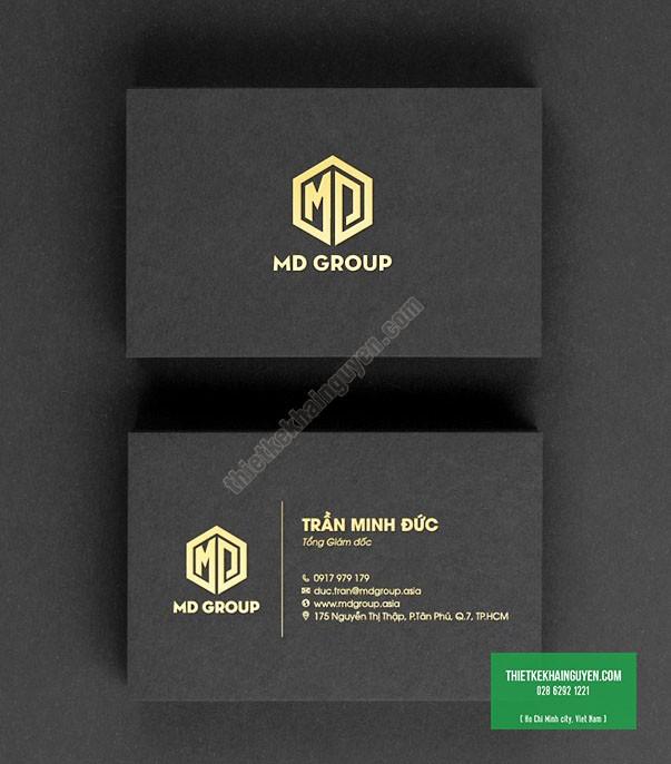 Mẫu card ép vàng của công ty bất động sản MDgroup