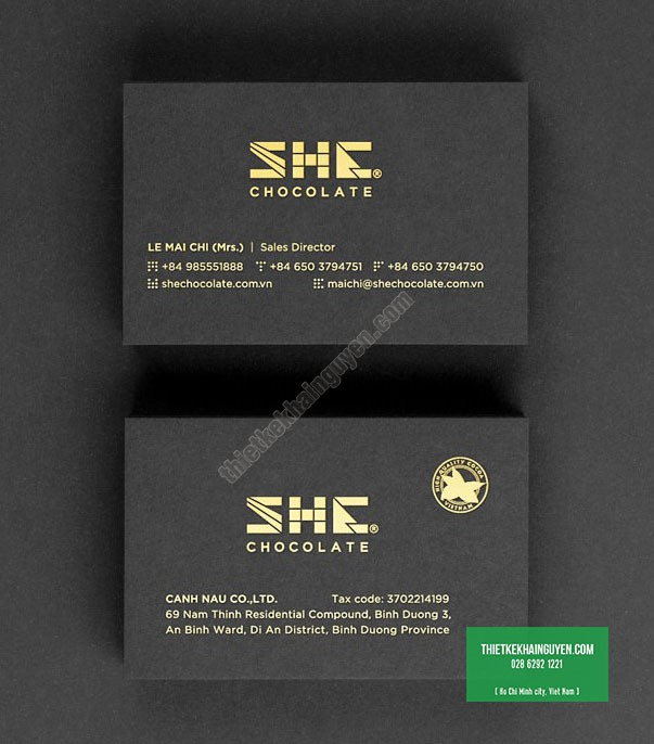 Mẫu card ép nhũ công ty SHE chocolate