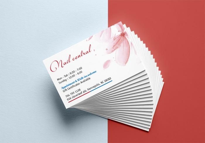 Mẫu name card cho Nails Spa - Nail Central