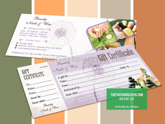 Thiết kế voucher đơn giản trang nhã cho spa