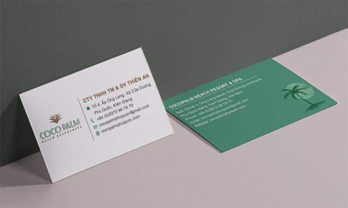 Card visit trong bộ in ấn thiết kế resort Phú Quốc
