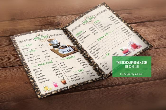 Thiết kế menu quán cà phê đẹp - Menu Mộc Cafe