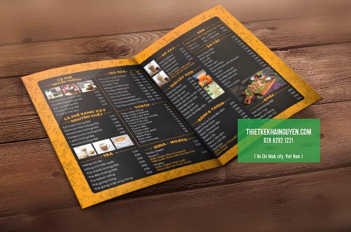 Ấn tượng với mẫu menu quán cafe K3