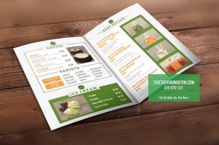 Thiết kế menu cà phê theo phong cách hiện đại
