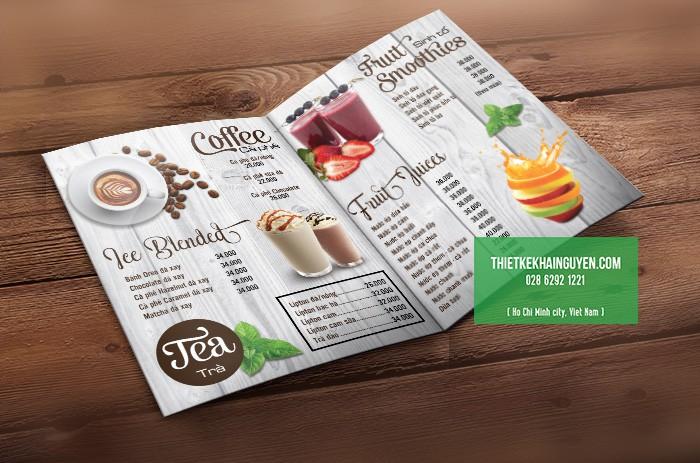 Mẫu thiết kế menu cafe nền gỗ đẹp của quán cà phê