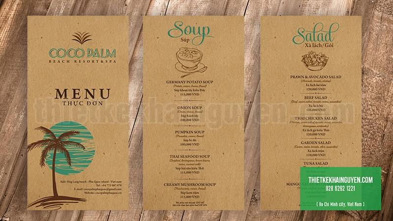 Thiết kế menu resort Phú Quốc