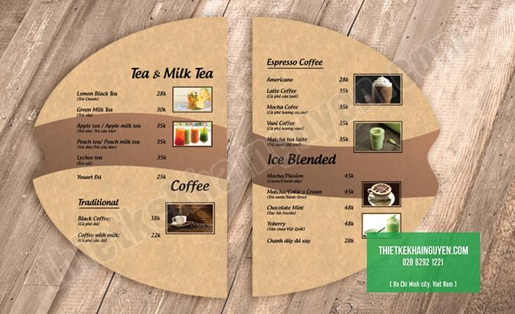 Dạng menu quán cafe bế hình hạt cafe